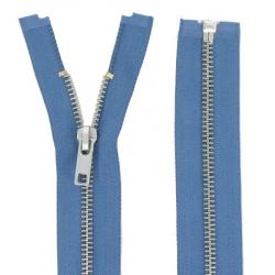 Fermeture Métal Argent 65cm Bleu jeans