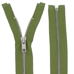Fermeture Métal Argent 40cm Vert armée