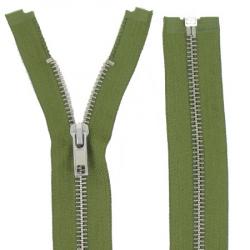 Fermeture Métal Argent 90cm Vert armée