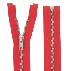 Fermeture Métal Argent 100cm Rouge