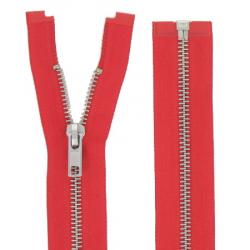 Fermeture Métal Argent 65cm Rouge
